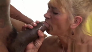 Very small tits blonde babe in her lingerie enjoying BBC