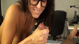 Cumshot along with shaved caucasian brunette in glasses HD