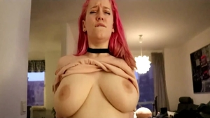Pink Pussy tease natural tits