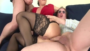 Threesome shaved caucasian in high heels in HD