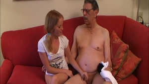 Schoolgirl being pounded by big dick grandpa