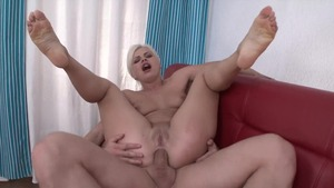 Busty blonde haired likes rough nailing