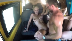 Group sex accompanied by large tits blonde babe