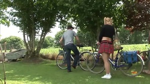 European threesome outdoors in HD