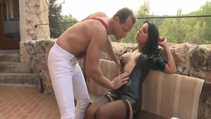 Very sexy Angel Rivas rough pussy fucking outdoors