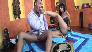 Long legs Black Angelika gets cum in her pussy