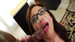 Busty nerd Hillary Scott hardcore facial interracial pounding
