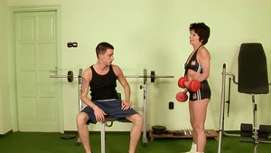Hairy english MILF ramming hard in the gym