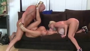 Bald female threesome