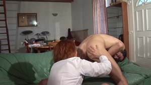 Sex scene in company with hairy mature