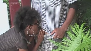 Natural ebony couple has a soft spot for rough sex HD
