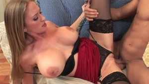 Busty blonde haired hard sucking cock