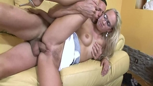 Hard nailing together with large tits babe Carla Cox