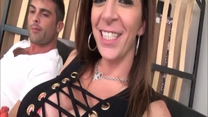 Rough dick sucking together with large tits brunette Sara Jay