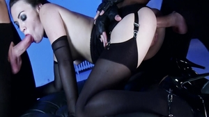 Tiffany Love escorted by Tiffany Doll in lingerie anal sex