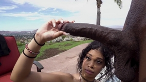 Shaved cumshot cum in her pussy outdoors in HD