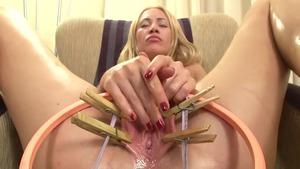 Natural shaved caucasian amateur playing with toys