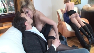 Sexy Holly Wellin helps with hard pounding