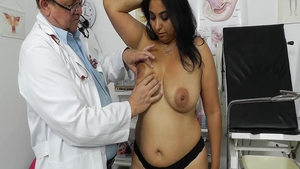 Busty girl in stockings medical gyno