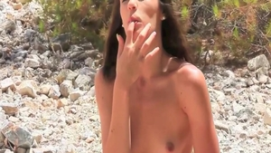 Small boobs brunette in bikini fingering solo