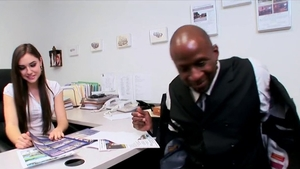 Interracial banging in office accompanied by perfect teen