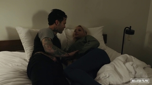 Ramming hard in company with shaved blonde haired