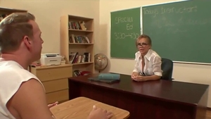 Shaved teacher pussy eating in school HD