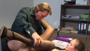 German in shorts doggy style in office