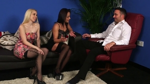 Nomi Melone in stockings beside Nesty Nice