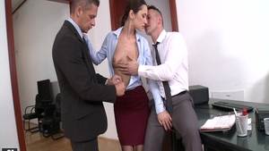 Big tits Angie Moon rough sucking cock in office