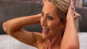 Busty and stiff blonde haired Emma Starr bends over
