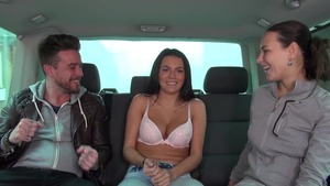 Mea Melone and cute amateur Wendy Moon group sex in the car