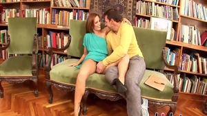 Stepmom Sylvia Laurent hardcore pussy fuck in the library