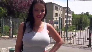 Cock sucking outdoors along with large tits MILF