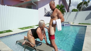 Blowjobs in the pool with big tits mature Ashley Barbie