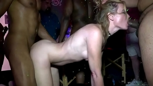 Hairy swinger helps with private gangbang at the party
