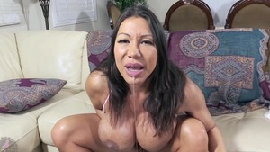 Beautiful asian mature Ava Devine jumping on a dick