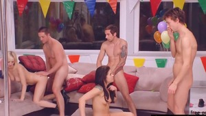 Taylor Russo accompanied by Cherry Torn group sex