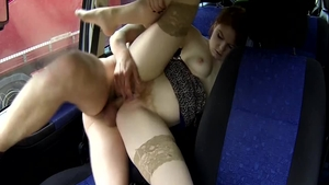 Chubby very hot european redhead raw pussy fuck in the car