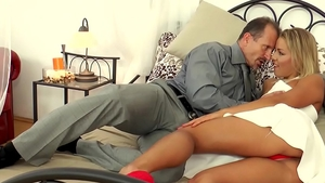Cumshot escorted by small tits blonde hair
