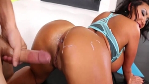 Busty MILF August Taylor in sexy lingerie riding big dildo