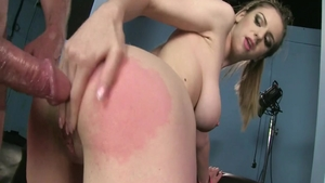 Hot babe Stella Cox helps with hard ramming