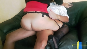 Real sex in the company of big butt brunette