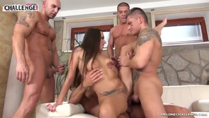 Tattooed stepmom Mea Melone group sex challenge in HD