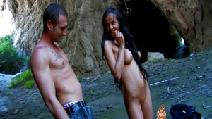 Blowjobs outdoors together with big boobs babe Candy Alexa