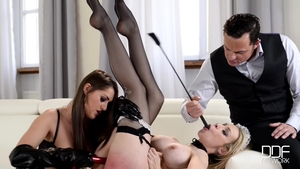 Large tits & naughty maid in sexy stockings brutal threesome