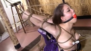 Hogtied accompanied by brunette