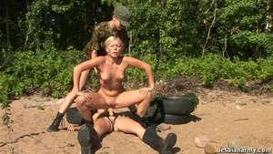 Lesbo pussy tribbing outdoors