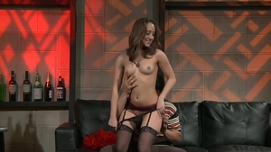 Brunette Remy Lacroix in stockings POV cumshot