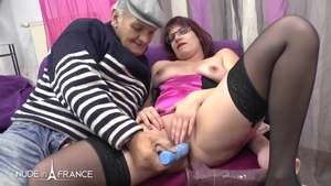 French in tight stockings cumshot